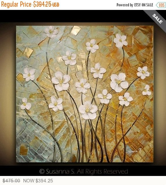 ORIGINAL White Flowers Painting Large Contemporary Impasto Landscape Abstract by Susanna