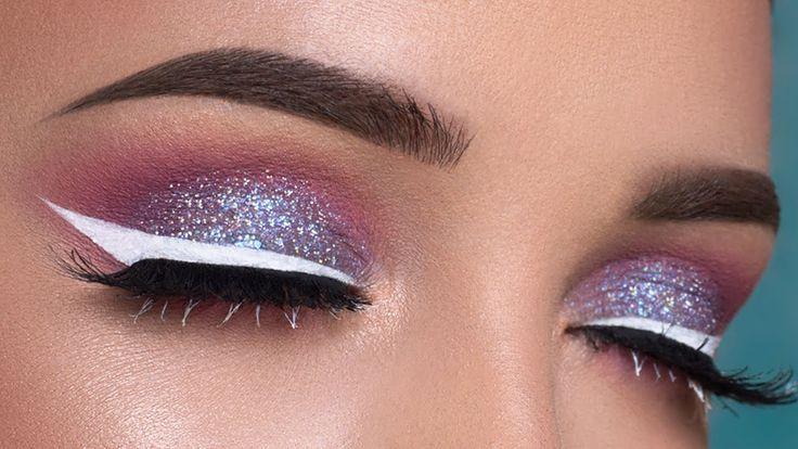Pink & Purple Glitter Eyes + White Eyeliner Makeup Tutorial