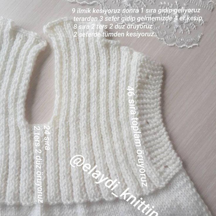 """553 Likes, 17 Comments - örgülerim (@elaydi_knitting) on Instagram: """"Açıklamalara devam.. buarada unuttum bu hırka yi 3 / 6 aylik bebeğe yaptim..soranlar için.. .…"""""""