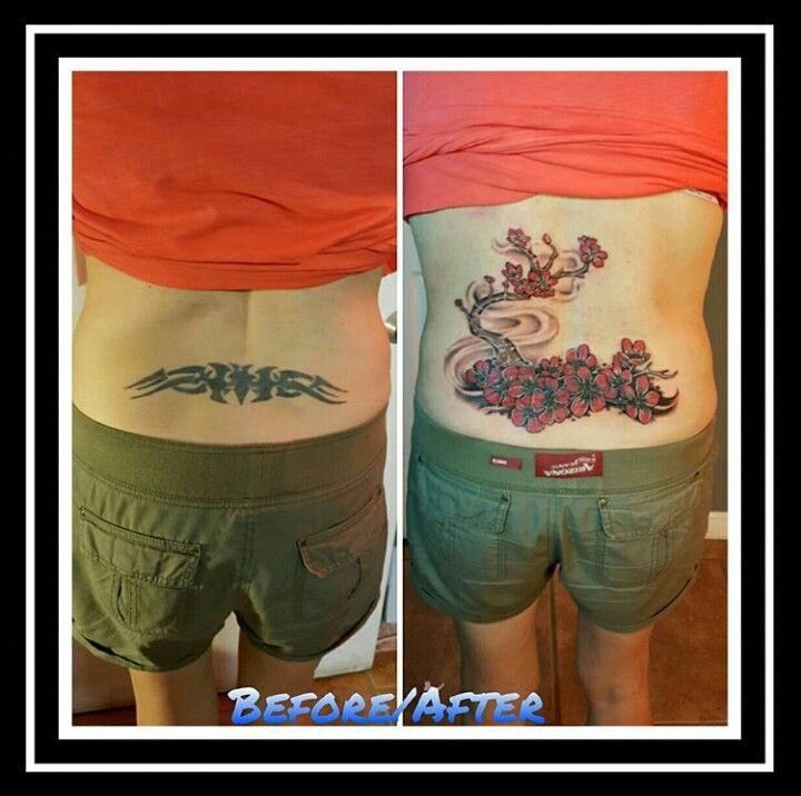 Back tribal tattoo cover up