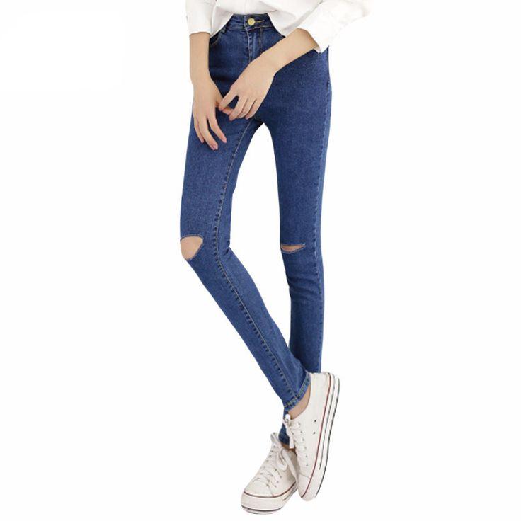 Hot Sale Vintage Hole Ripped denim Jeans Woman Plus Size Elasticity High  Waist Skinny Jeans Women Pencil Pants Jeans Femme Mujer