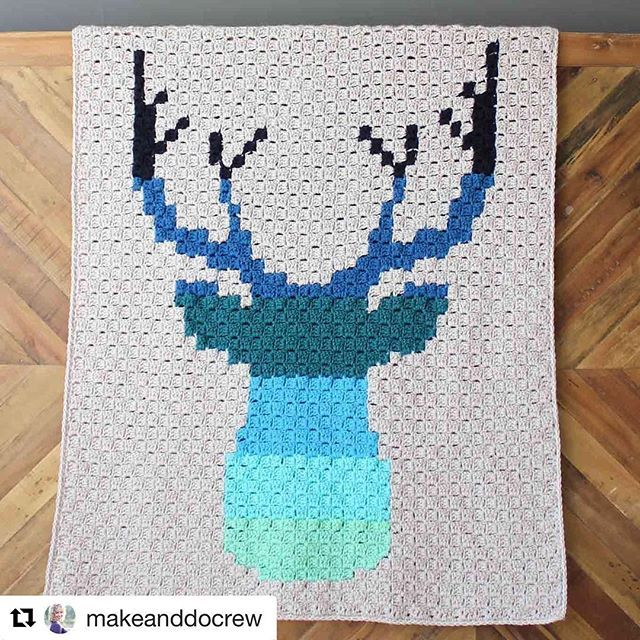 #Repost @makeanddocrew with @repostapp ・・・ NEW PATTERN! What would corner to corner weekend be with a new free c2c pattern? I think this ombre deer would be equally at home in a baby nursery, dorm room or man cave. :information_desk_person_ton