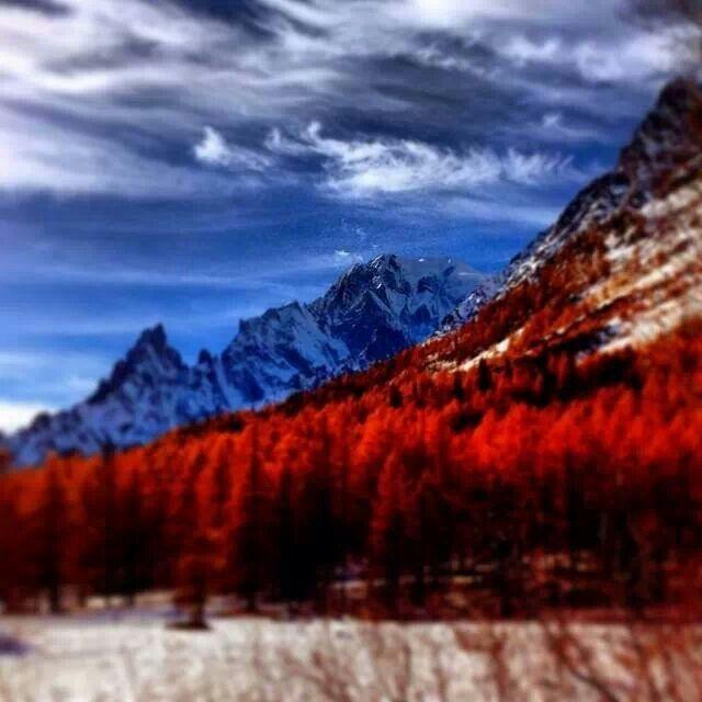 Monte Bianco, vista dalla Val Ferret, Courmayeur Mont Blanc, Aosta, Italia photo Lucia Audisio