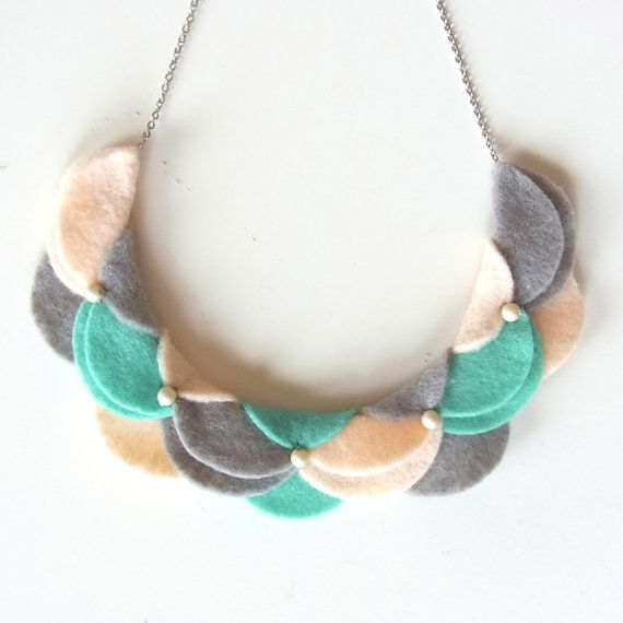 collar style felt necklace -could be done with double-sided fabric circles, squares, triangles...