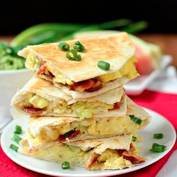 Breakfast Quesadillas, bacon, egg and cheese