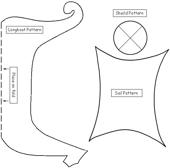 Viking ship template-kids to make shields to learn about the culture and then have a fun take home afterwards