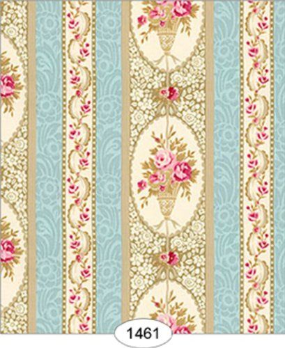 "Dollhouse Wallpaper "" Parisian Floral Stripe"" Itsy Bitsy"