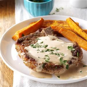 Sage Pork Chops with Cider Pan Gravy Recipe -A creamy sauce flavored with apple cider and sage makes for a quick and tasty weeknight dinner. If you like, serve these lightly seasoned chops with couscous, rice or noodles.—Erica Wilson, Beverly, Massachusetts