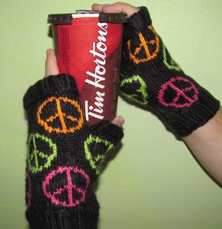 Give Peace a Chance Fingerless Mitts - via @Craftsy