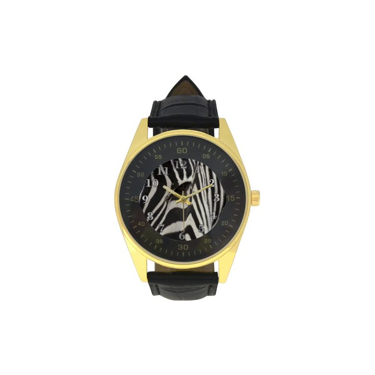Zebra Men's Golden Leather Strap Watch. FREE Shipping. #artsadd #watches #zebra