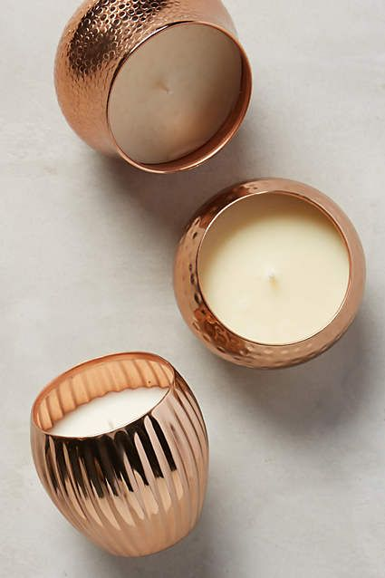 Capri Blue Textured Copper Candle - anthropologie.com