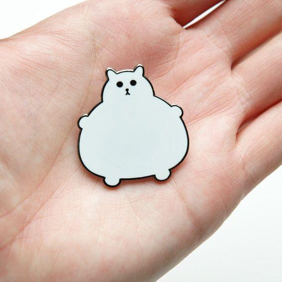 Enamel cat brooch - Fat Kitty Pin Fat Kitty