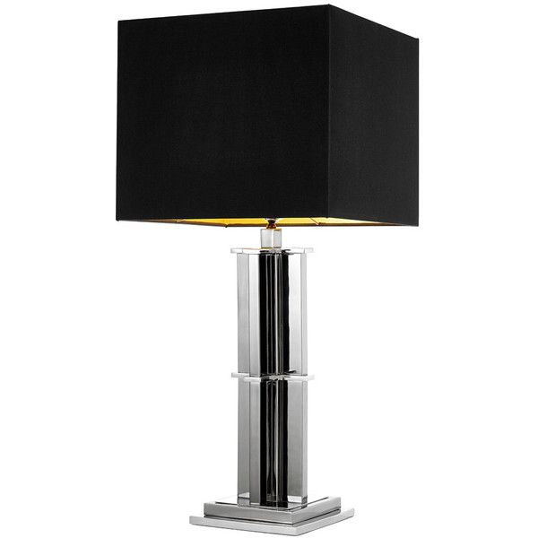Eichholtz Encore Table Lamp Black Nickel ($845) ❤ liked on Polyvore featuring home, lighting, table lamps, black, column lamps, pillar lights, black lamp, light bulb shade and light bulb lamp