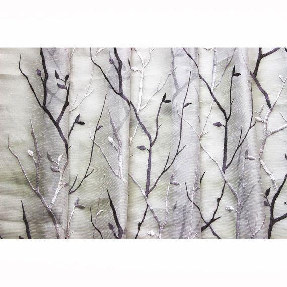Purple Wine N Lavender Trees Embroidered Sheer Curtain