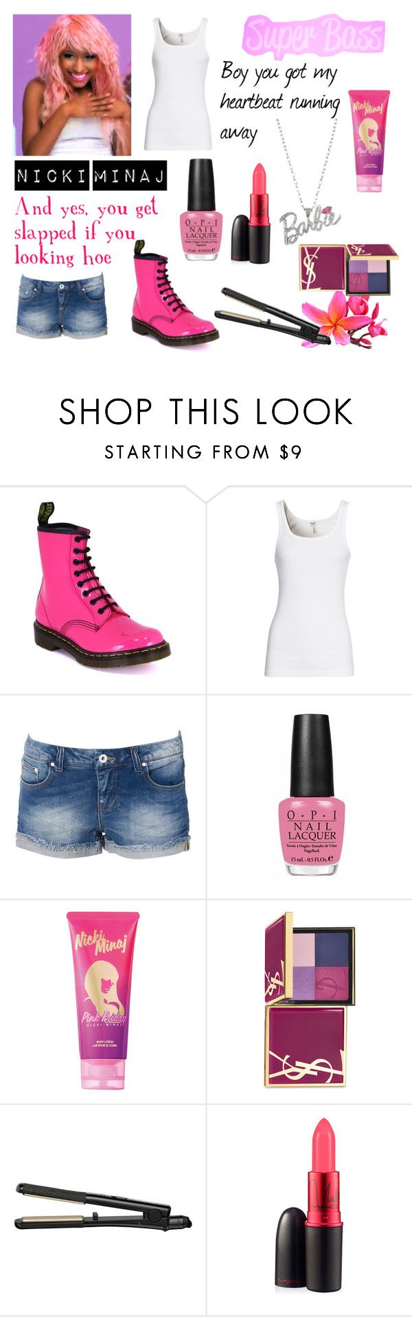 """Nicki Minaj 'Super Bass' inspired outfit"" by iqafiqaah ❤ liked on Polyvore featuring Nicki Minaj, Dr. Martens, Splendid, Vero Moda, OPI, Yves Saint Laurent, BaByliss and MAC Cosmetics"