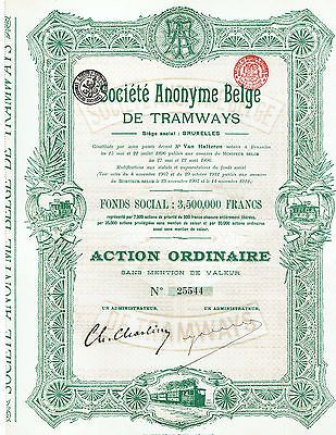 Belgium Soc Anonyme Belge de Tramways Bruxelles 1912 Action Ordinaire Green