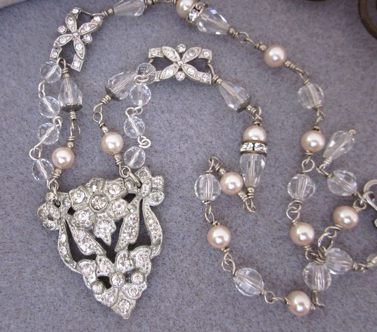 Repurposed Art Deco Rhinestone Necklace, Pearl Crystal Necklace, Bridal Necklace, Handmade Assemblage OOAK Jewelry - JryenDesigns. $82.00, via Etsy.