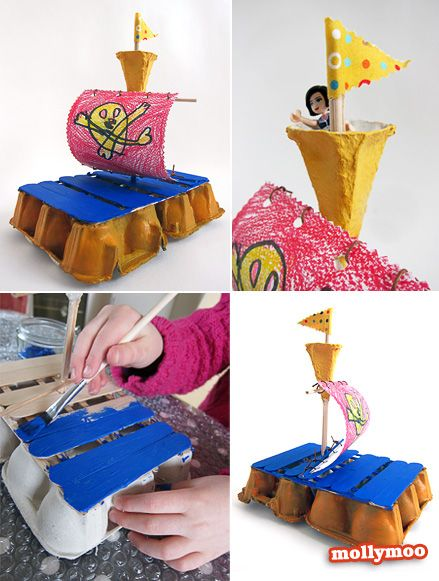 Very cool  ~  Pirate ship - Simple EGG Carton Craft to try at home - with egg cartons, lollipop sticks and a glue gun.