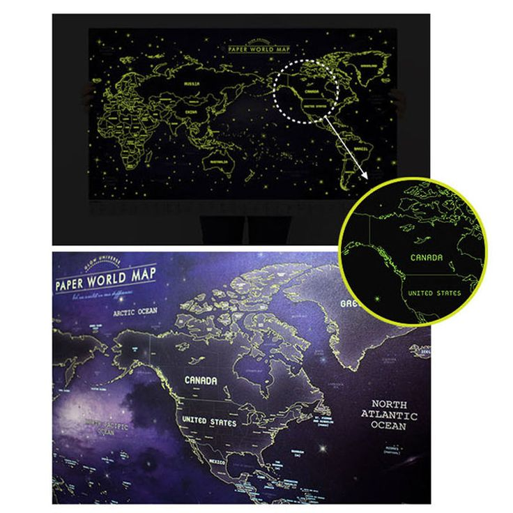Glow in the Dark Luminous Paper World Map Travel Routes Decoration Wall Poster #Indigo #ArtDeco