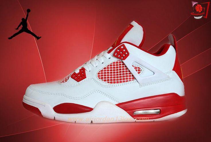 Discount Shoes Online Mens White/Red/Gold Melo AIR JORDAN 4 RETRO