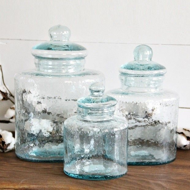Cyprus Glass Canisters With Glass Lids