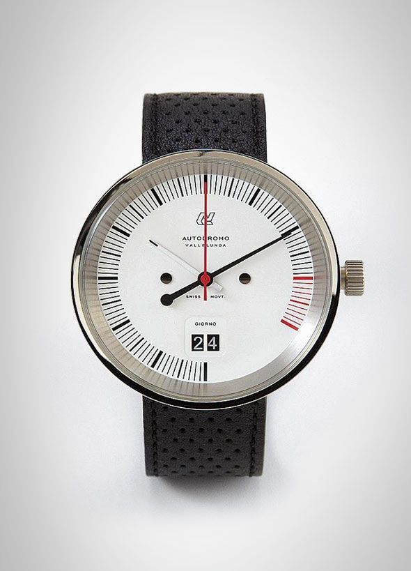 Made in small batches, Autodromo uses only the finest Swiss Made movements. The watch has a glass crystal with sapphire coating and is available in black over black or white over stainless steel. It's also water resistant up to 30 meters and comes with a beautifully perforated genuine leather strap.