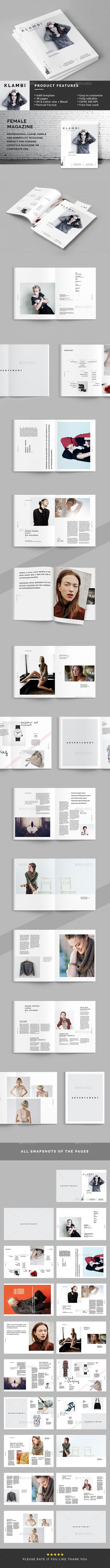 Female Magazine Template InDesign INDD #design Download: http://graphicriver.net/item/female-magazine-template/13893581?ref=ksioks