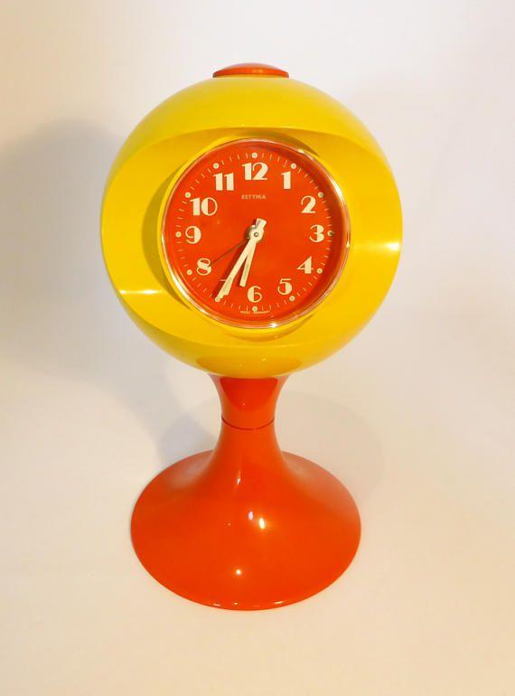 Estyma bright orange and yellow space age style alarm clock  Clocks Estyma Orange Yellow Space age Alarm Clock Desk Mantel Atomic Tulip Vintage Retro Gift  Retroriginaluk
