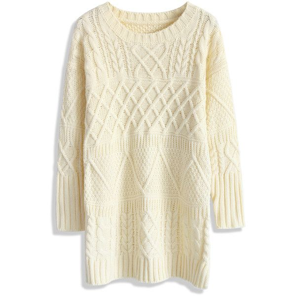 Chicwish Cable Knit Sweater Dress in Beige ($40) ❤ liked on Polyvore featuring dresses, tops, sweaters, shirts and beige