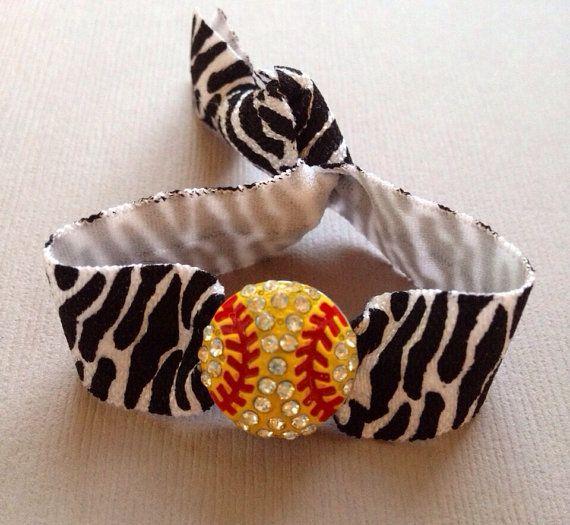 The Zebra Print Softball Hair Tie/Ponytail Holder-Bracelet - 1 Elastic Hair Tie w-Softball Charm by Elastic Hair Bandz on Etsy