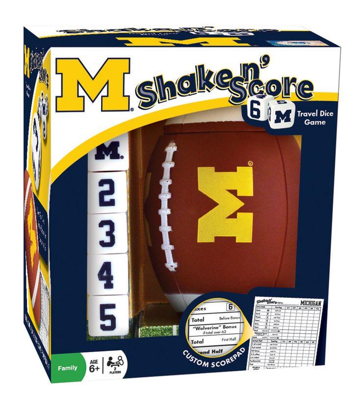 Michigan Wolverines Shake 'n Score Travel Dice Game