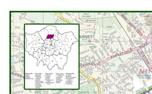 This detailed map covers the London borough of Haringey. It shows the borough boundary, roads, railways, land features, water features and tourist information.