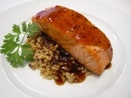 Lazy Gourmet...Bourbon Glazed Salmon over Brown Rice. Boils in a bag in 8 minutes!