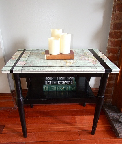 Re-purposing an old table with a map and some paint
