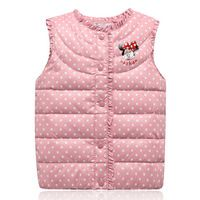 spring & autumn warm vest kids minnie vests for girls waistcoat children clothes winter vests O-Neck ruffles jacket kid clothing