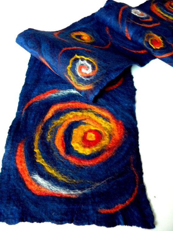 Handmade wool felted long scarf Starry sky dark blue colored with bright yellow stars.Merino wool Under 75 OOAK