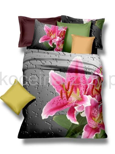 Szara pościel na łózko z różowymi kwiatami o kroplami wody