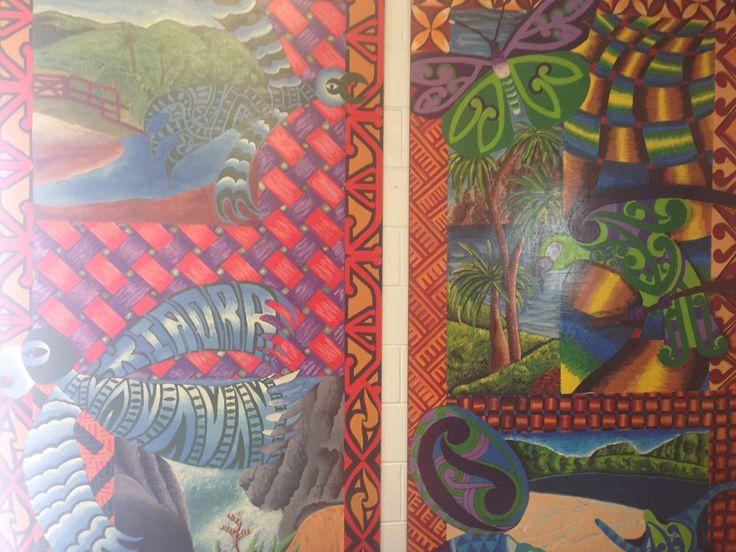 Murals at Pehiaweri Marae, Whangarei, Aotearoa, New Zealand by school children.  These ones have butterflies, birds, trees & water #lovenature