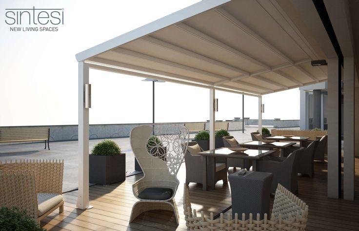 Wall-mounted pergola / aluminum / PVC fabric sliding canopy SINTESI FRAMA ACTION ...