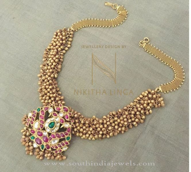 Gold Antique Clustered Bead Necklace, Gold Antique Necklace Design 2016, Gold Antique Necklace Collections 2016