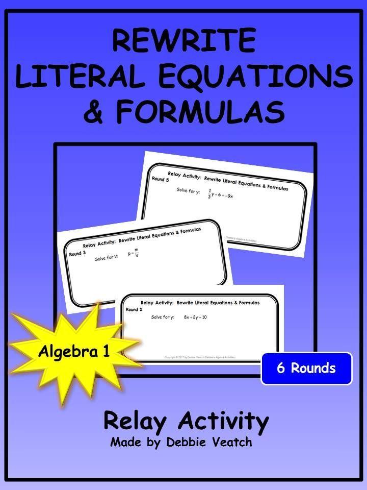 Rewrite Literal Equations Formulas Relay Activity Math Algebra