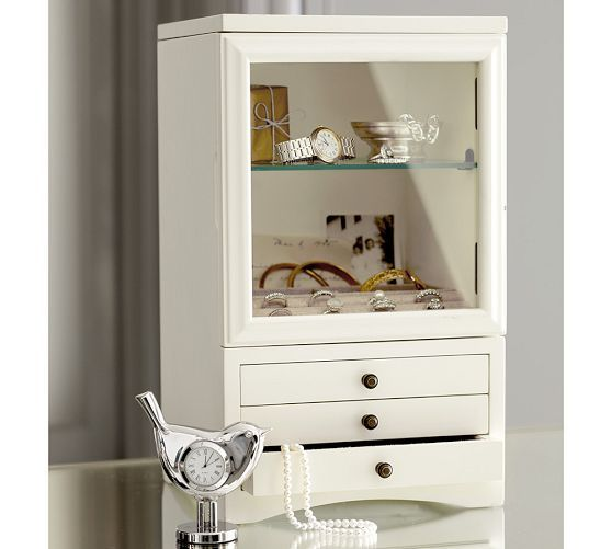 Andover Tall Jewelry Box | Pottery Barn (US) - this is an incredibly lovely jewellery storage idea, like a miniature cupboard.  Beautiful.