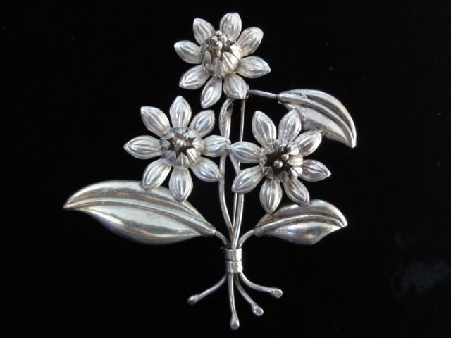 Vtg Mexico 925 Sterling Silver Floral Design Large Pin Brooch  Pendant