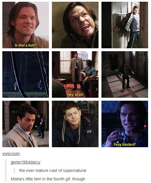 Supernatural cast (gif). One of many reason why I love these 3!