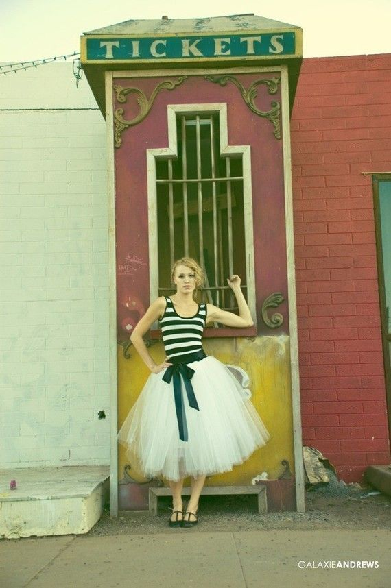 Striped Party Dress With Tulle Skirt  Cirque by ouma on Etsy, $188.00