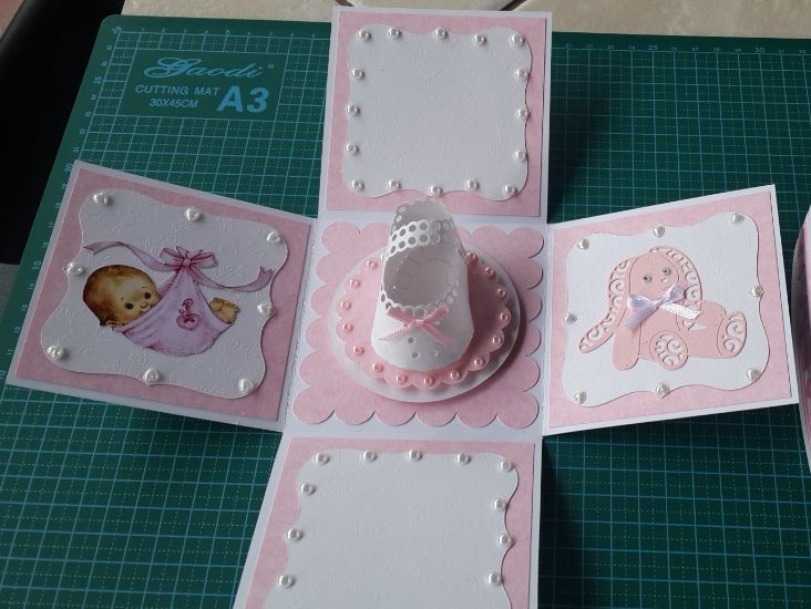 001b_Explosion Box_Pink for Baby Girl_Inside View. Handmade by Diane Prinsloo (Lubbe).