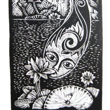 Water Lily flower Girl spirit wood cut print by Djuwadi Prints. $25