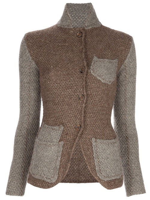 Semi Couture - Knit Jacket - Brown linen and Angora blend knitted jacket from Semi Couture featuring a grey foldover round collar, a front button fastening, four front patch pockets in grey and grey sleeves - Dolci Trame sale 40% off