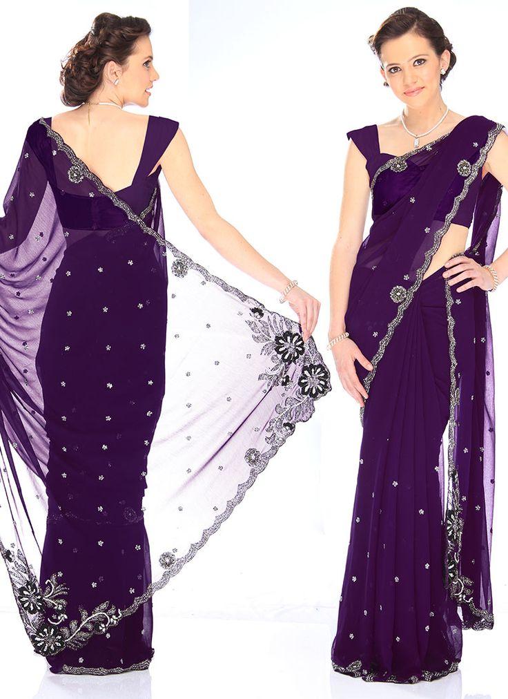 Cbazaar Alluring Purple Georgette Saree
