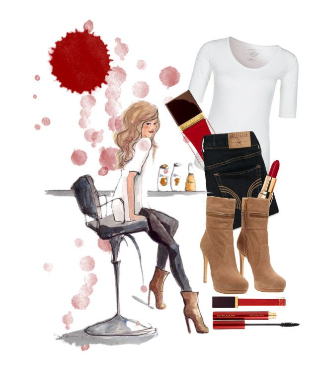 """""""Always With A Splash Of Red"""" by disneycowgirl16 ❤ liked on Polyvore featuring Majestic, Hollister Co., Tom Ford, Bobbi Brown Cosmetics, MICHAEL Michael Kors and Kevyn Aucoin"""
